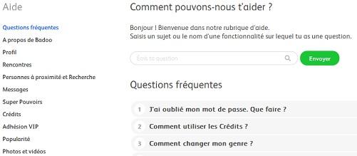 Image de la page des questions fréquemment posées sur le site Badoo.