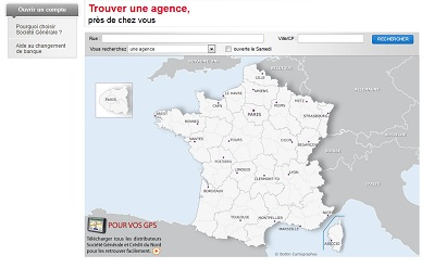 Aperçu de la page vous permettant de trouver les coordonnées de l'agence désirée