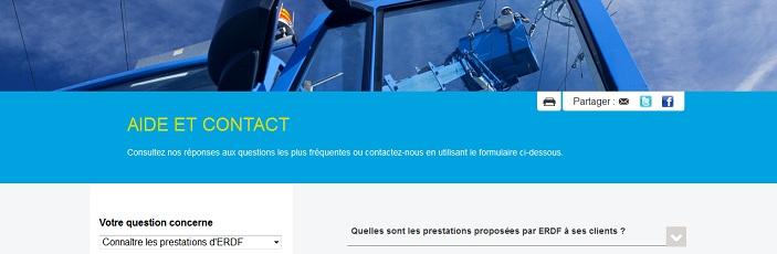 Page d'aide et de contact du site ERDF.