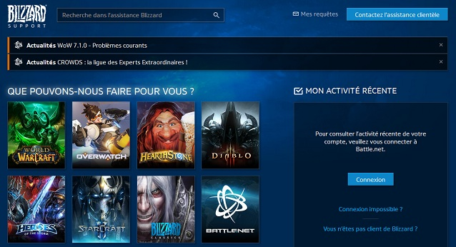 ^perçu de la page d'assistance du site Blizzard, le développeur de World Of Warcraft.