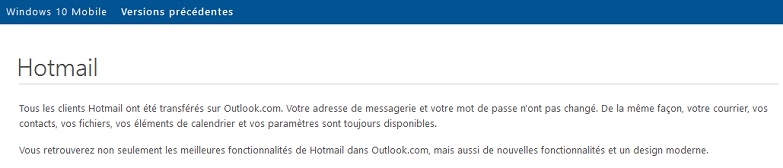 Extrait de la page du support Hotmail/Outlook