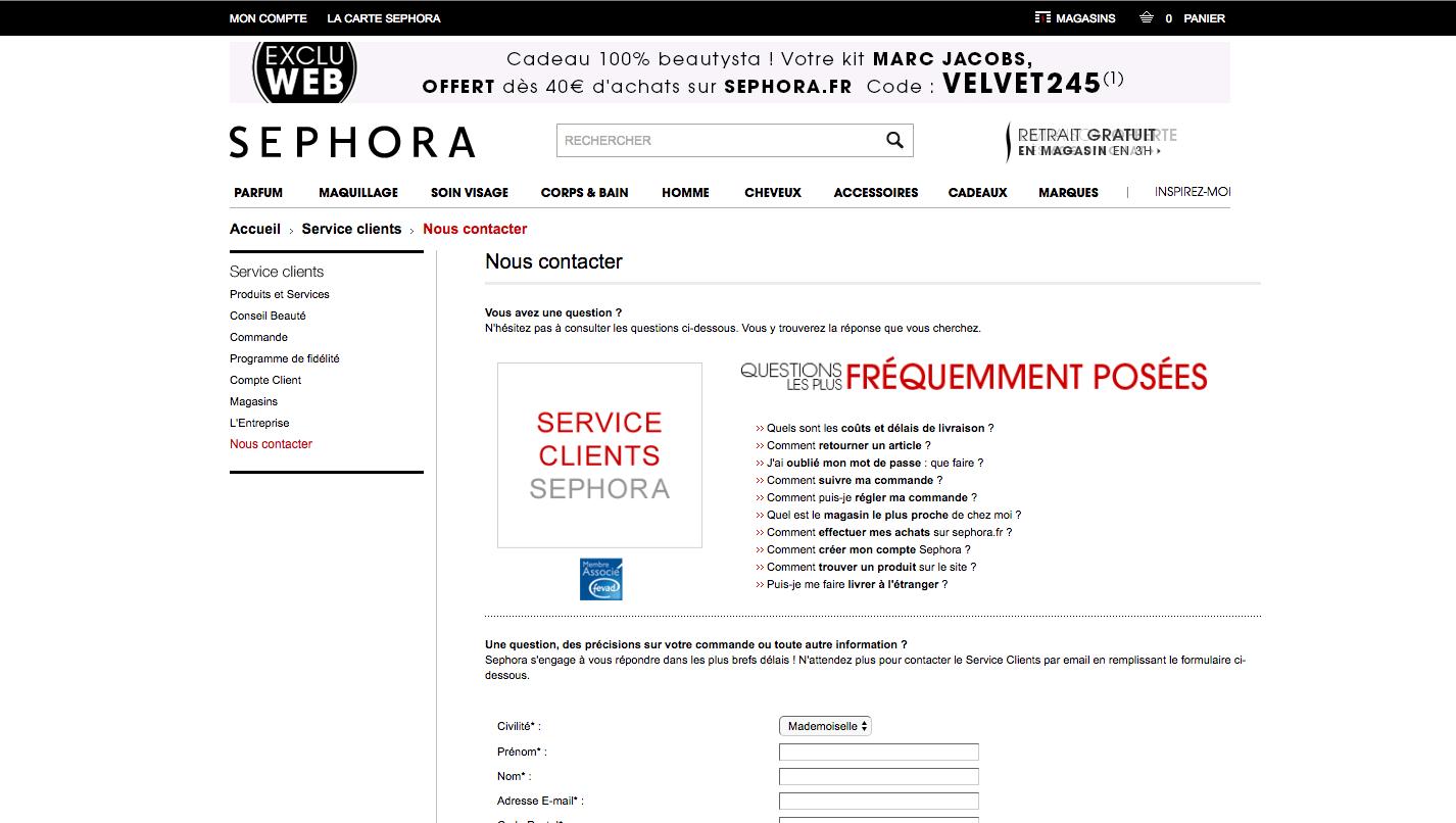 Aperçu de la page de contact officielle de Sephora