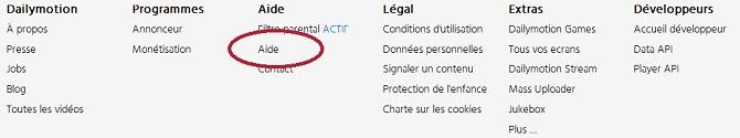 """Une fois sur le site Dailymotion, cliquez sur la rubrique """"Aide"""" (entourée en rouge sur l'aperçu ci-dessus)."""