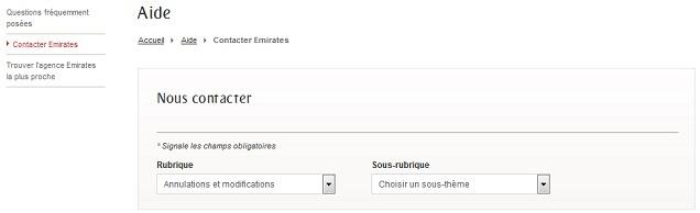 Page de cntact de la compagnie aérienne Emirates.
