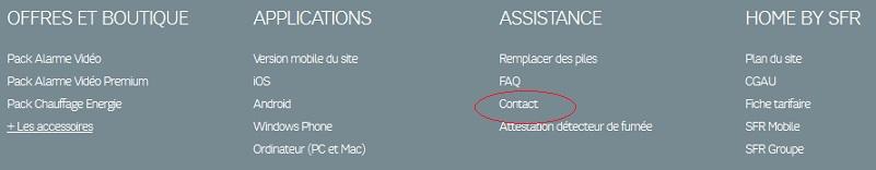 Une fois rendu sur la page d'accueil du site Home SFR, cliquez sur l'onglet contact (ici : entouré en rouge).