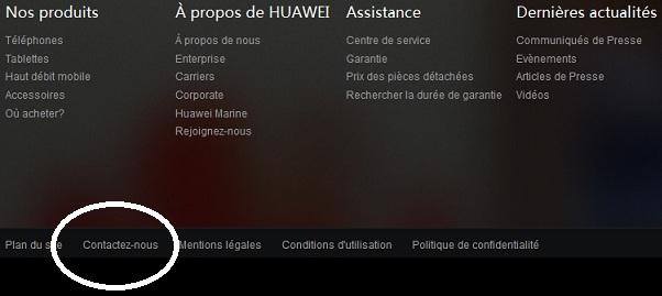 """Page d'accueil du site Huawei. Cliquez sur l'onglet : """"Contactez-nous""""."""