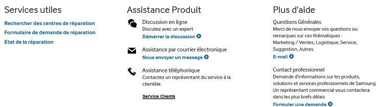 Aperçu de la page du site de Samsung, vous permettant de chatter avec un conseiller ou d'envoyer un mail.