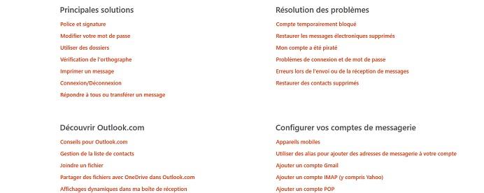 Foire aux Questions à propos d'Outlook sur le site de Microsoft.