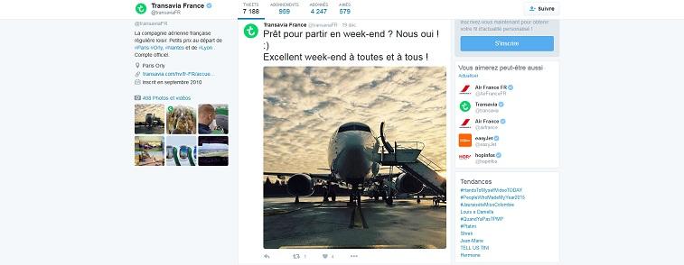 Aperçu de la page Twitter de Transavia