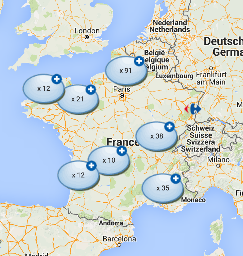 Localisation des agences Carrefour Banque en France