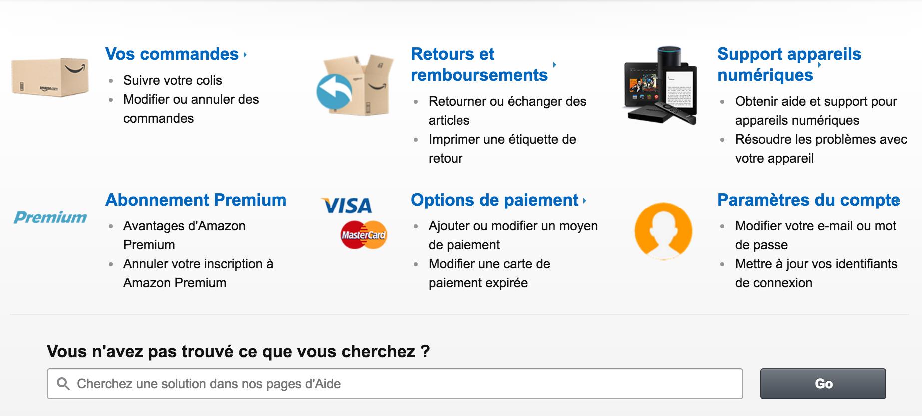 Aperçu de la rubrique Aide d'Amazon.fr