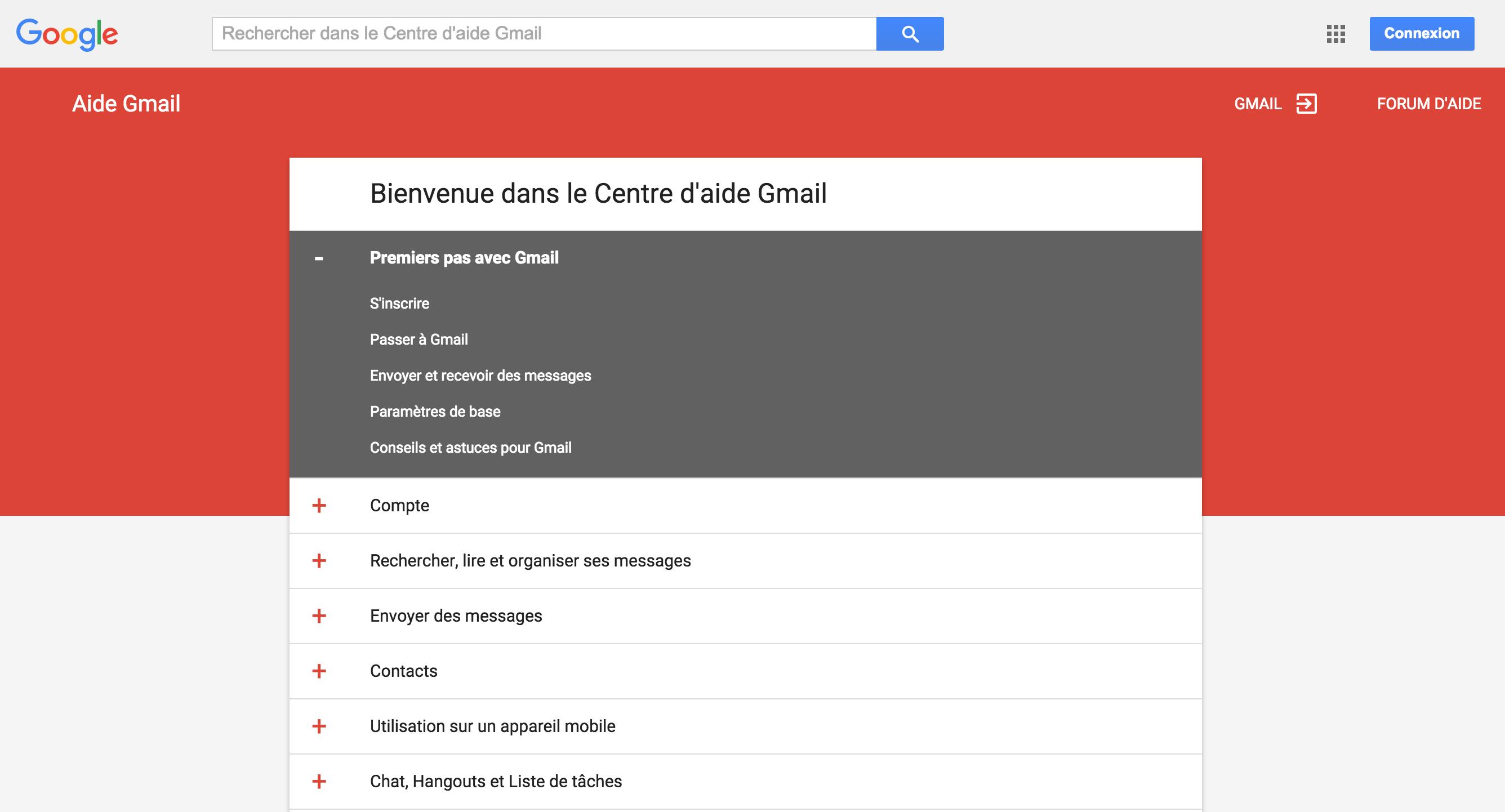 Cliquez sur l'image pour accéder à l'aide en ligne Gmail