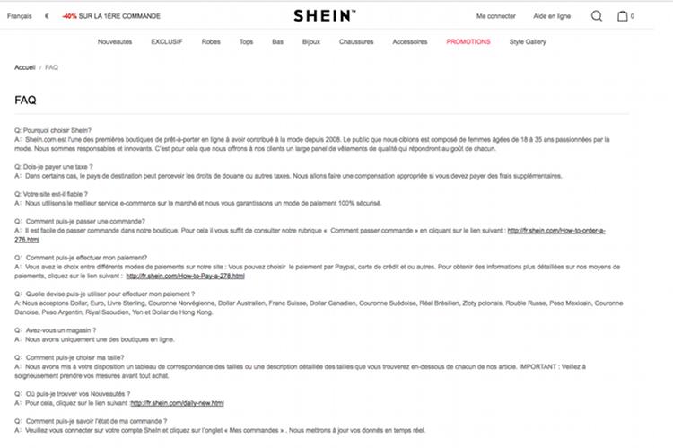 Page d'aide en ligne du site de vente en ligne She Inside