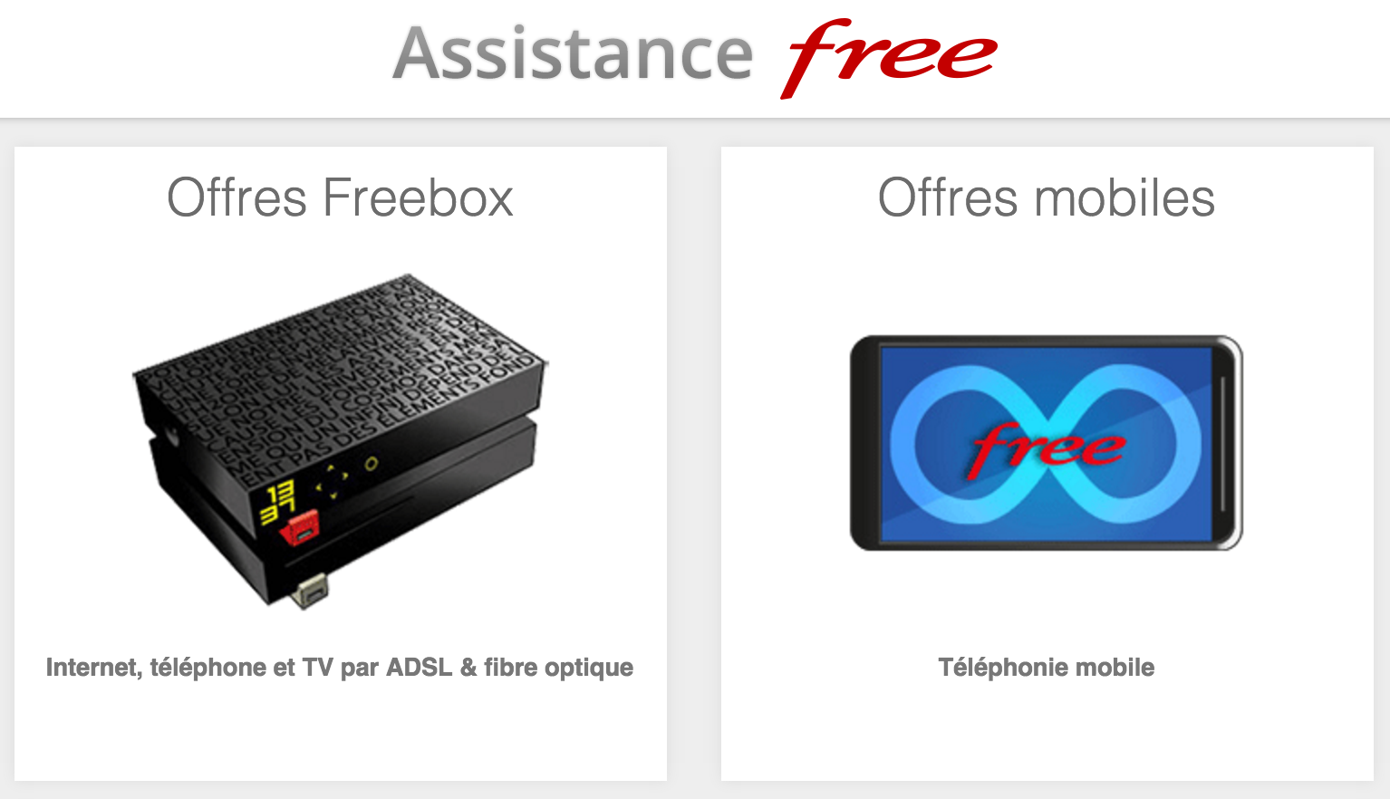 Aperçu de la page d'assistance officielle de Free