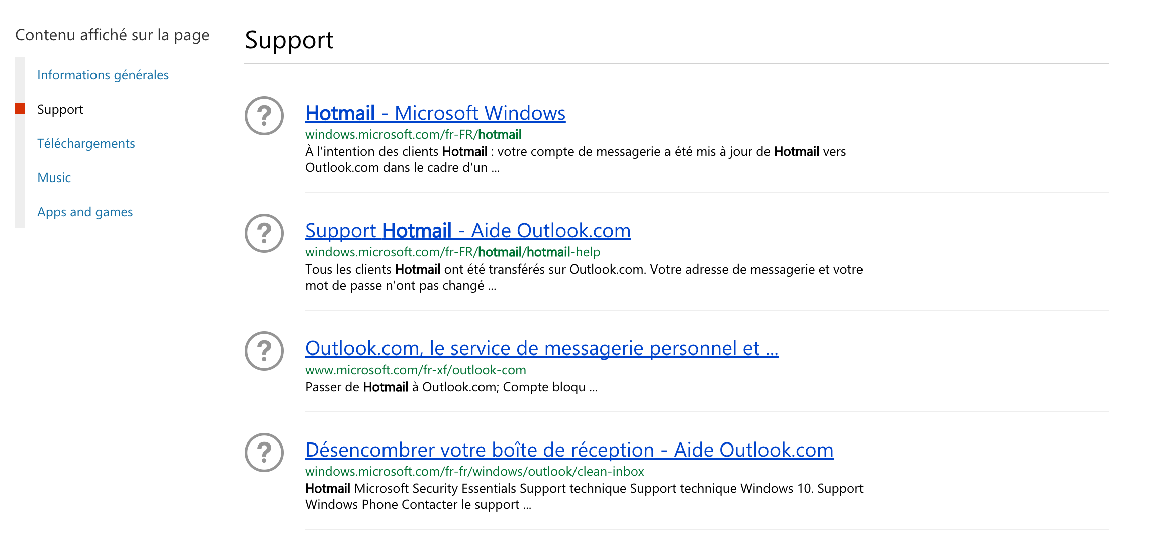 Petit aperçu du support d'aide Hotmail