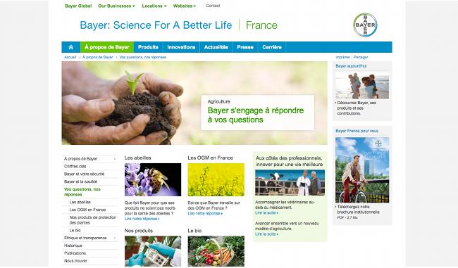 Aperçu de la page d'aide et assistance Bayer