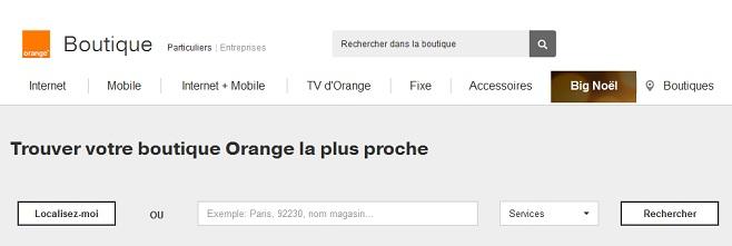 Page permettant de trouver les coordonnées des boutiques Orange.