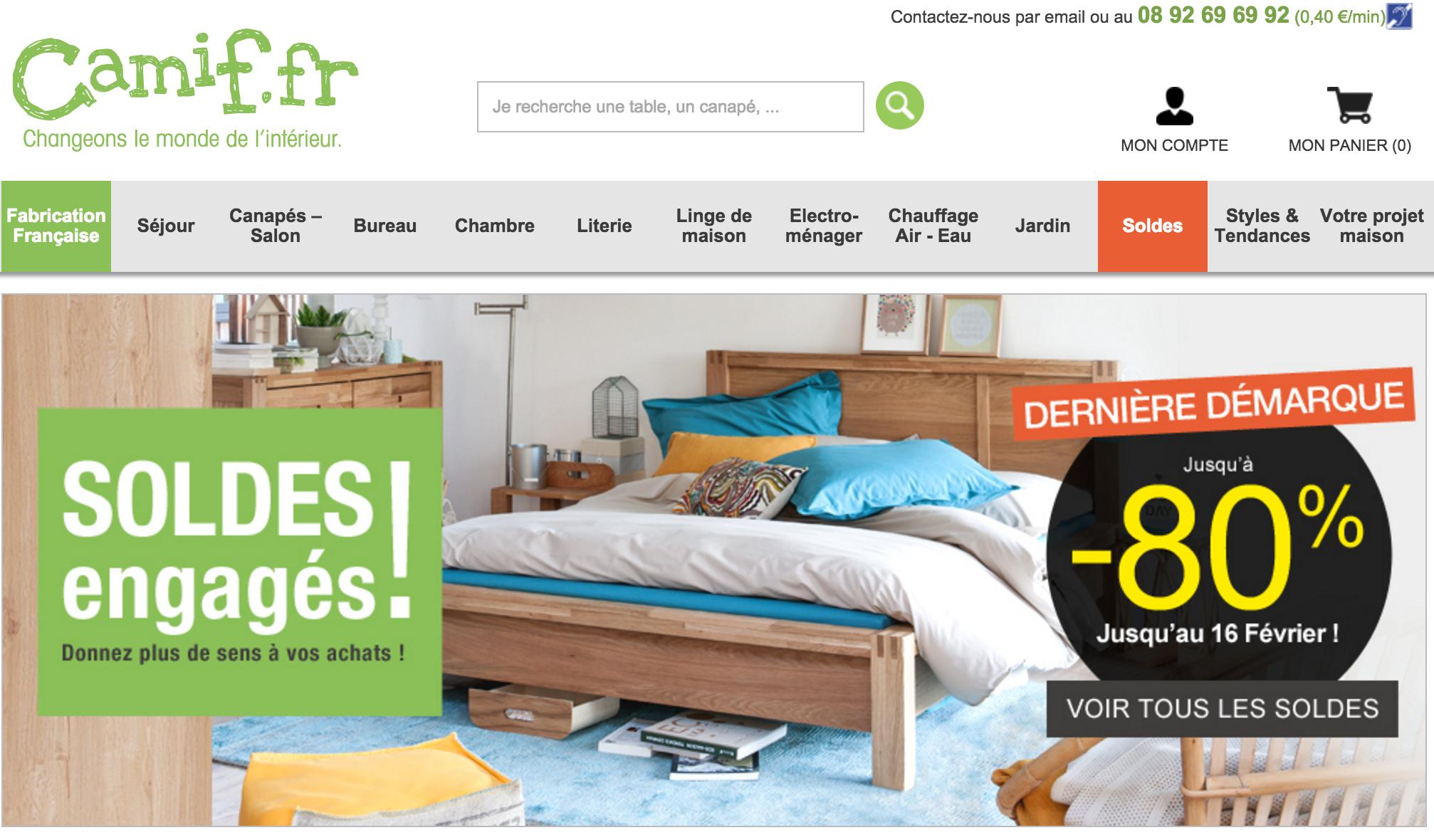 Capture du site internet officiel de Camif.fr