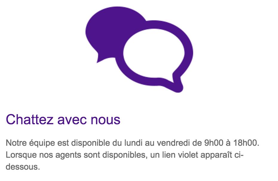 Icône pour accéder à la messagerie instantanée de Fedex