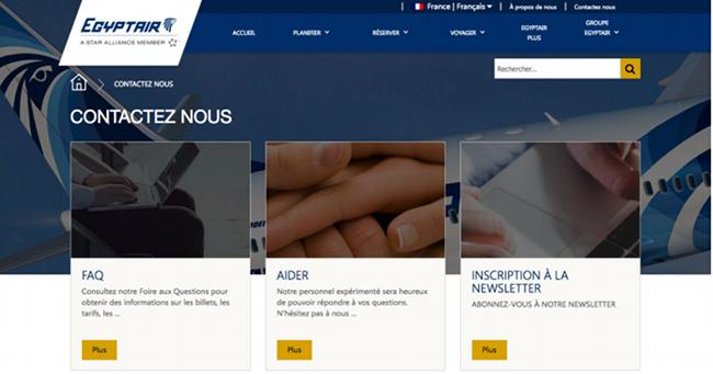 Page de contact officielle de la compagnie aérienne Egyptair