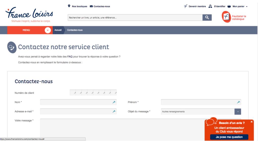 Aperçu de la page officielle de contact de France Loisirs