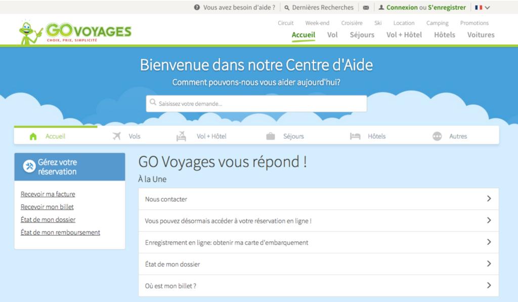 Formulaire de contact Go Voyages