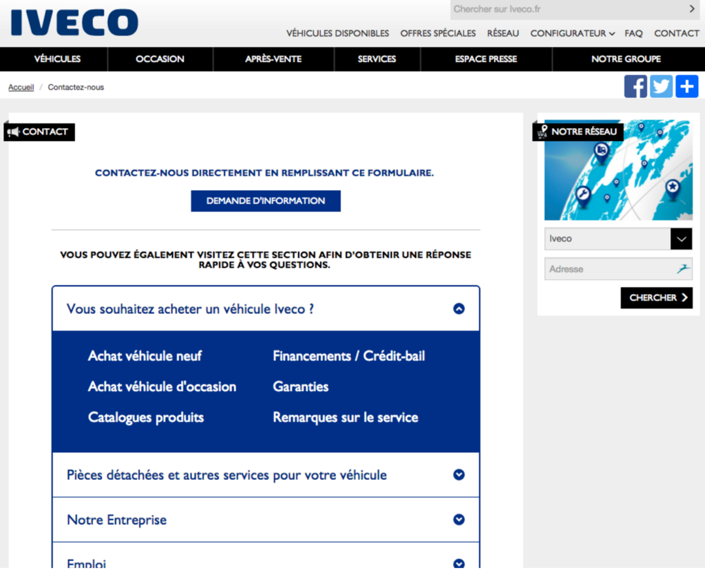 Page de contact officielle du site Iveco