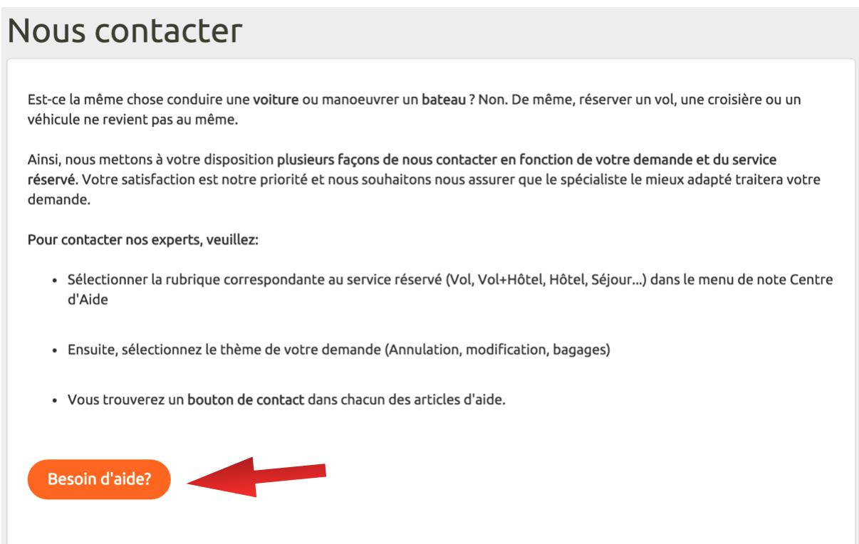 """Cliquez sur """"Besoin d'aide"""" une fois sur la page officielle du service client Opodo pour faire apparaître le formulaire de contact."""