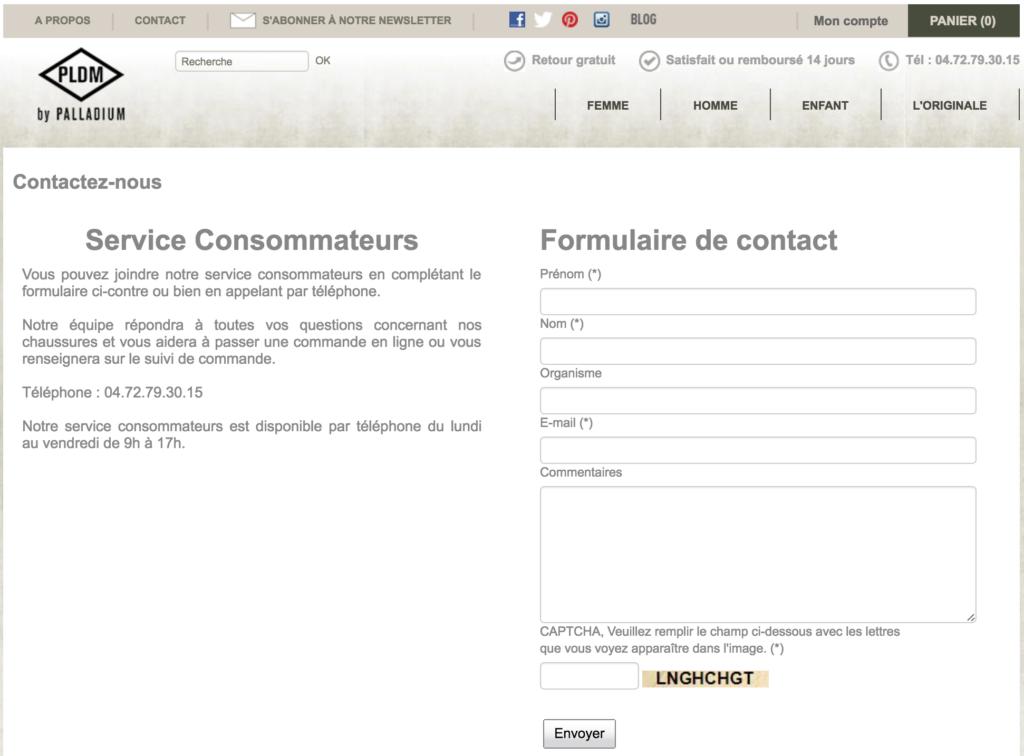 Aperçu de la page de contact et du formulaire SAV de Palladium