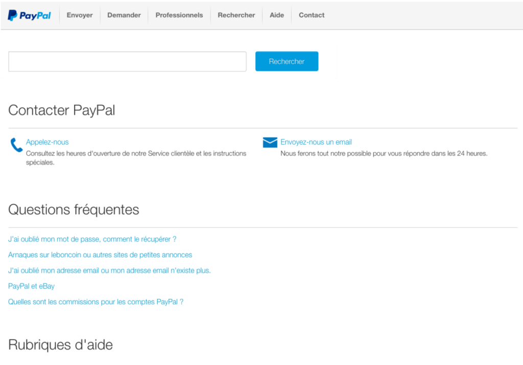 Aperçu du formulaire de contact de Paypal
