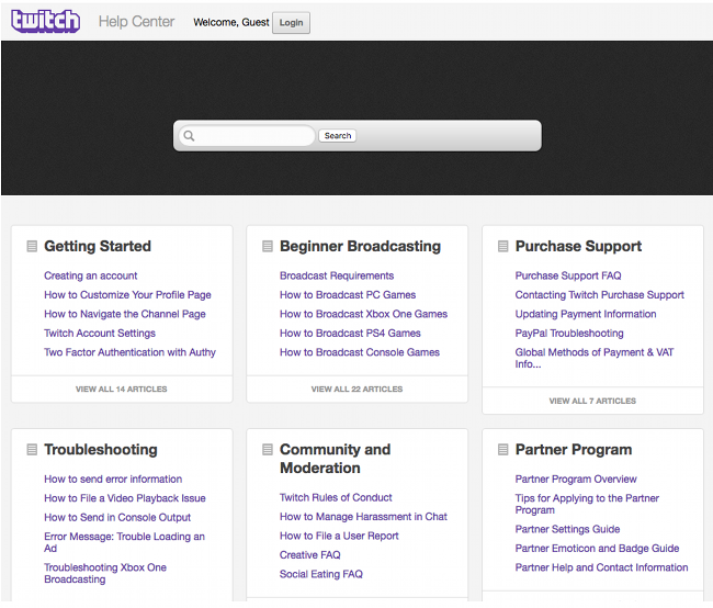 Page d'aide et de contact officielle du support Twitch (Disponible en Anglais uniquement)