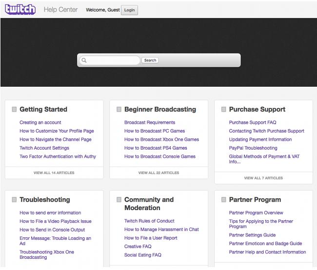 Page d'aide et de contact officielle du support Twitch (Disponible en Anglais uniquement)