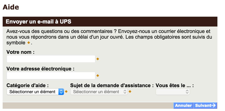 Formulaire de contact UPS