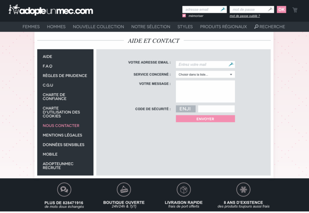 Page d'Aide et Contact du site adopteunmec.fr