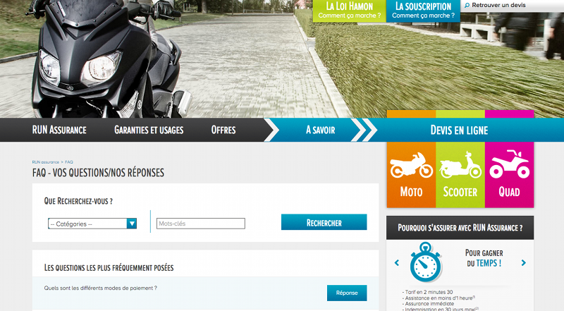 Page de contact du site Run Assurances
