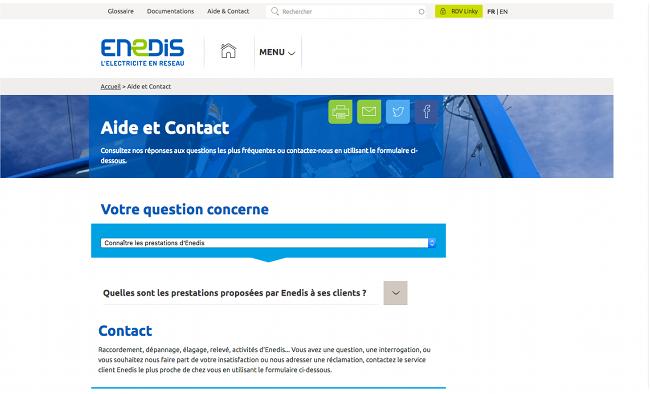Page de contact de Enedis (Anciennement ERDF Pro)
