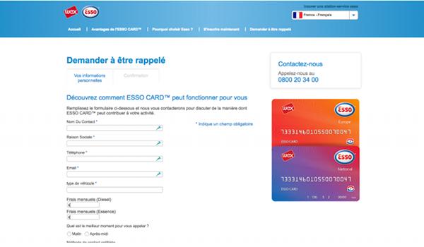 Formulaire de contact et Aide en ligne Esso