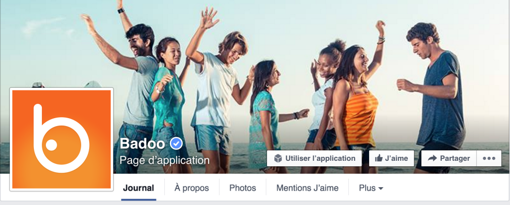 Aperçu de la page facebook Badoo