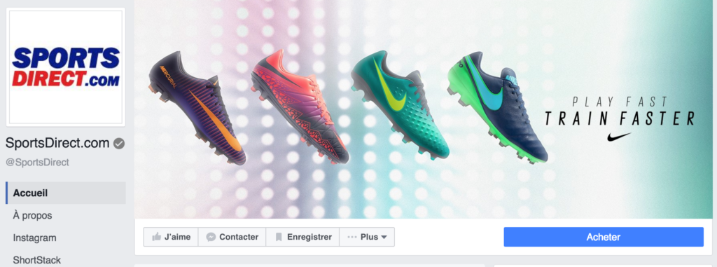 Compte facebook officiel de la marque belge Sports Direct