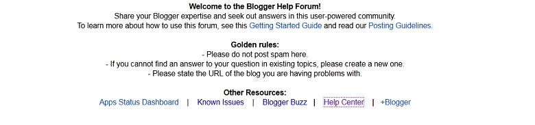 Aperçu du forum d'entraide de Blogger