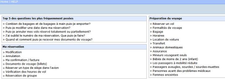 Aperçu des questions fréquemment posées à la compagnie aérienne.