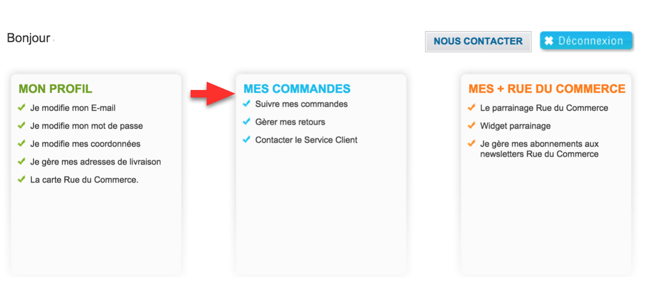 """Onglet """"Mes commandes"""" une fois connecté à l'espace client Rueducommerce"""