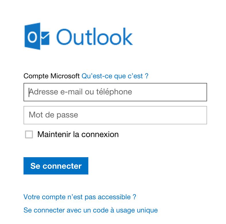 Aperçu du nouvel espace de connexion d'hotmail -> Outlook