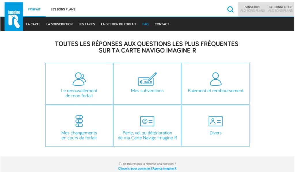 Aperçu de la page d'aide et d'assistance en ligne de ImagineR