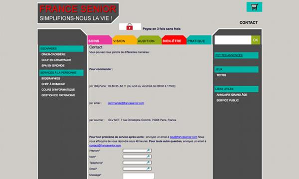 Formulaire de contact en ligne de France Senior