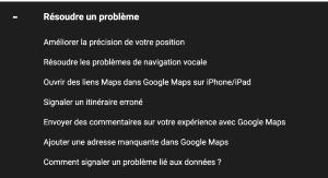 Exemples de sujets traités dans le support Google Maps
