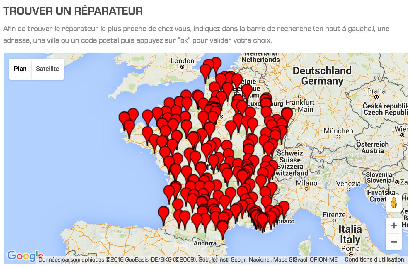 Cliquez pour accéder à la carte des centres de réparation Tefal