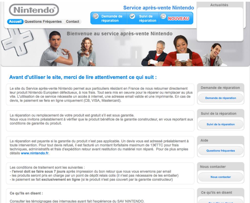 Page officielle du formulaire de contact du SAV de Nintendo