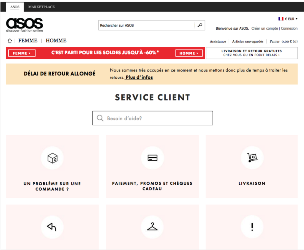 service client asos