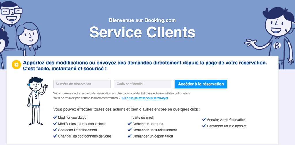 Page de contact du site Booking.com
